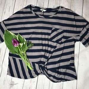 Lucky Brand Blue and Gray Striped Crop Top E1-103